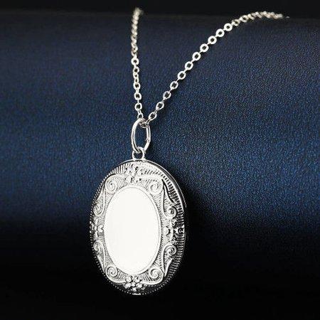 Halloween Castle Embossed Oval Locket Necklace Platinum Plated1