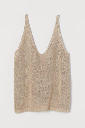 Knit Tank Top - Beige - Ladies | H&M US