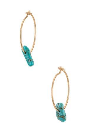8 Other Reasons Gold Hoop Earring With Turquoise Stone in Turquoise | REVOLVE