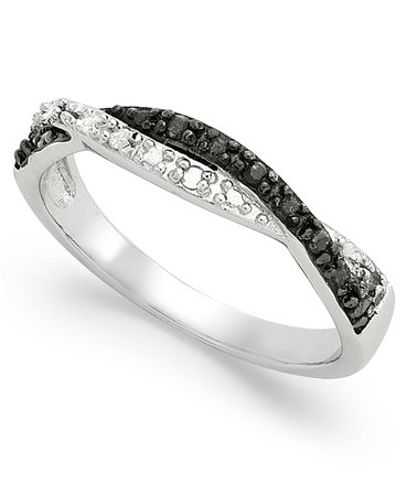 Macy's Black and White Diamond Weave Sterling Silver Ring