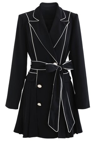 Piped Double-Breasted Pleated Blazer Dress in Black - Retro, Indie and Unique Fashion