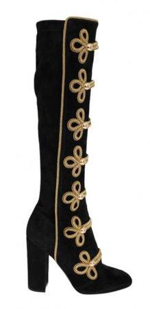 Dolce & Gabbana - Damen Stiefel - Black Suede Stretch Gold Boots EU 40 | eBay