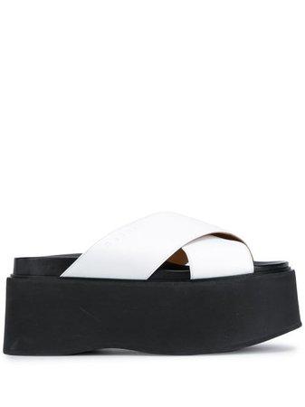 white Marni platform cross-strap leather sandals