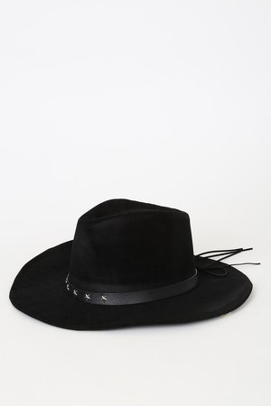 Vegan Suede Hat - Black Fedora - Wide-Brim Hat - Cowgirl Hat