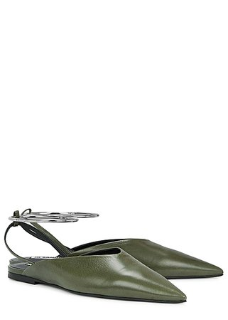 Jil Sander Olive leather mules - Harvey Nichols