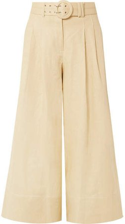 Belted Cropped Linen Culottes - Beige
