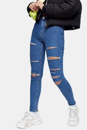 Mid Blue Super Rip Joni Skinny Jeans   Topshop