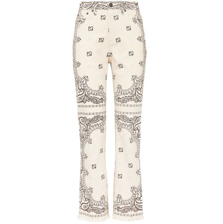 Printed Boot-Cut Denim Pant
