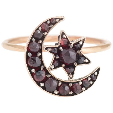 Antique Victorian Conversion Ring Bohemian Garnet Crescent Moon Star 10K Gold For Sale at 1stdibs