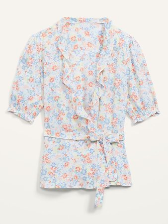 Ruffled Floral-Print Tie-Belt Wrap Blouse for Women | Old Navy