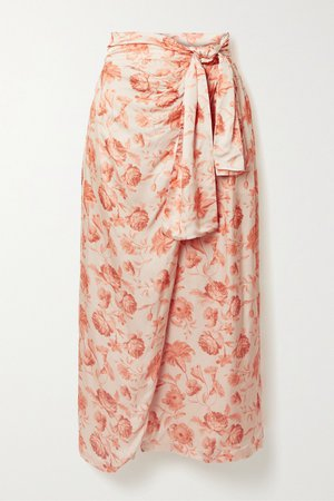 Peach + NET SUSTAIN wrap-effect floral-print hammered-satin midi skirt | Mother of Pearl | NET-A-PORTER