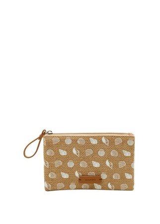 MANGO Printed jute purse