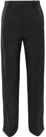 Satin-trimmed Crepe Straight-leg Pants - Black
