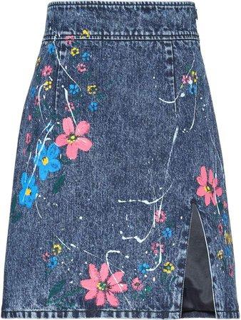 Floral Print Mini Denim Skirt