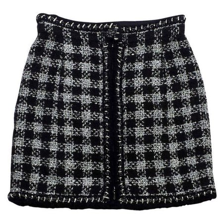 Chanel Black & Silver Metallic Tweed Skirt