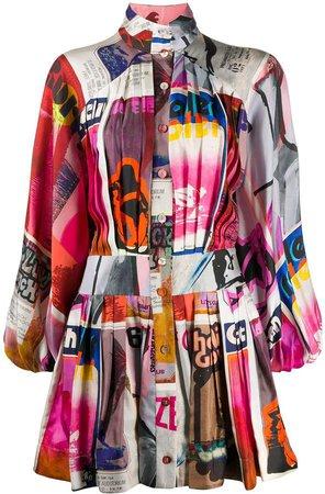 Collage-Print Dress