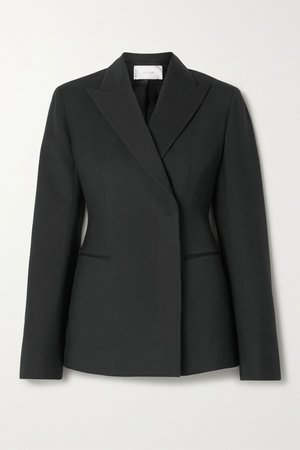 Black Lanois double-breasted wool-blend blazer | The Row | NET-A-PORTER