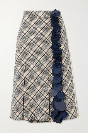Prada | Sequin-embellished checked wool midi skirt | NET-A-PORTER.COM
