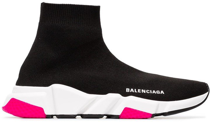 Black, White And Pink Speed Knitted High Top Sneakers