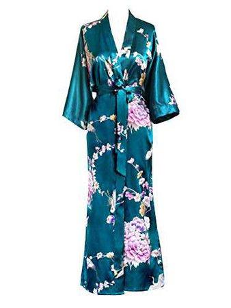Old Shanghai Women's Kimono Long Robe - Chrysanthemum & Crane (Peacock) OS at Amazon Women's Clothing store: