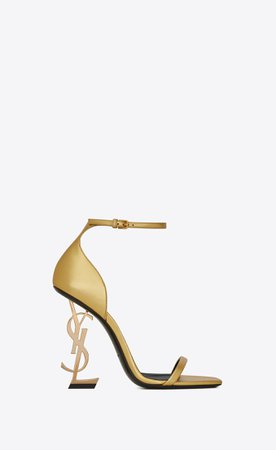 Saint Laurent OPYUM Sandals With Gold Toned Heel In Smooth Leather  | YSL.com