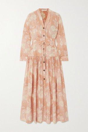 Pink Floral-print silk crepe de chine maxi dress | Chloé | NET-A-PORTER