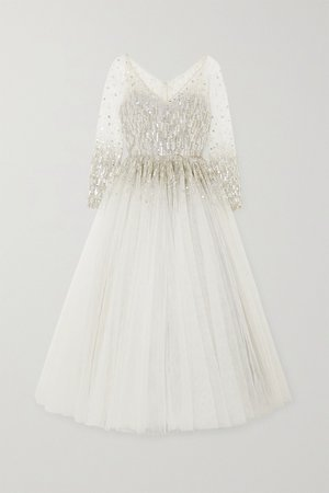Silver Leigh embellished glittered tulle gown | Jenny Packham | NET-A-PORTER