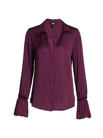 Paige Jeans Abriana Shirt Collar Blouse   SaksFifthAvenue