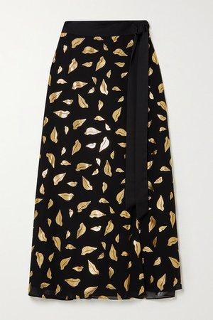 Nalani Satin-trimmed Metallic Printed Chiffon Wrap Midi Skirt - Black