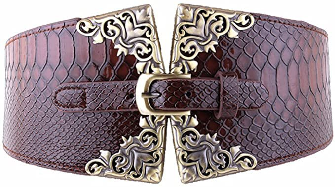 AWAYTR Wide Cinch Belts for Women - Crocodile Leather Pin Buckle Retro Fashion Dress Belts (Navy Blue) at Amazon Women's Clothing store