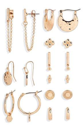 BP. 9-Pair Set of Goldtone Earrings | Nordstrom
