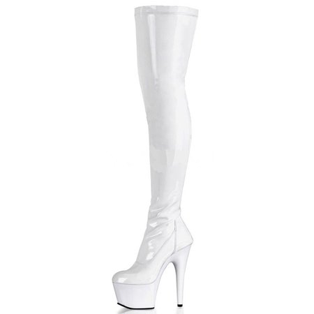 pleaser white thigh high boots