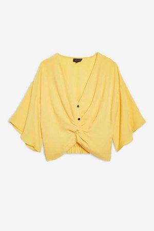 (TopShop) Twist Front Crop Shirt