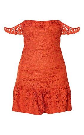 Rust Lace Bardot Frill Hem Bodycon Dress | PrettyLittleThing