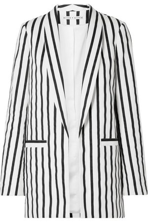 Alice + Olivia Kylie striped cotton-blend twill blazer