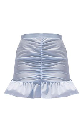 Baby Blue Woven Ruched Frill Hem Mini Skirt | PrettyLittleThing