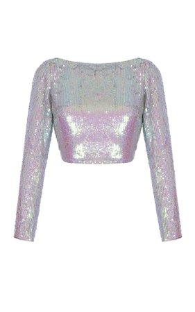 rasario pink sequin top