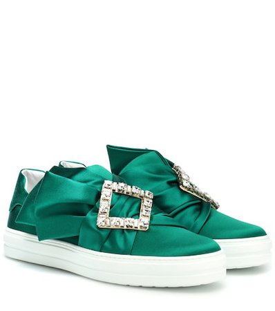 Sneaky Viv' embellished satin sneakers