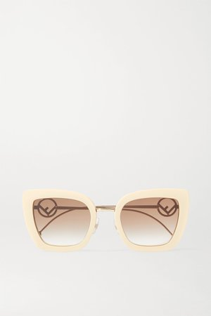 Ivory Cat-eye acetate and gold-tone sunglasses | Fendi | NET-A-PORTER