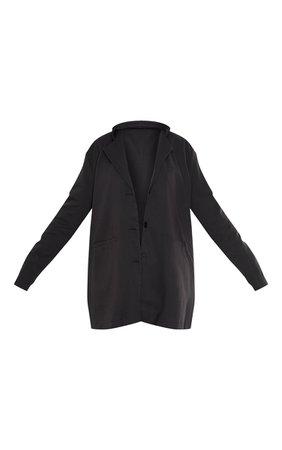 Black Woven Extreme Oversized Blazer | PrettyLittleThing USA
