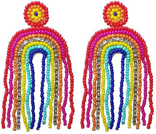 Amazon.com: Statement Drop Earrings - Rainbow Tassel Bohemian Beaded Dangle Earrings Gift for Women: Clothing
