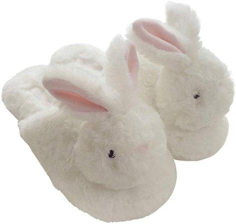 Amazon.com | Millffy hot Winter New Plush Animal Head Unicorn Slippers Cute Plush Rabbit Indoor Home Slippers (5/6, White Rabbit) | Slippers
