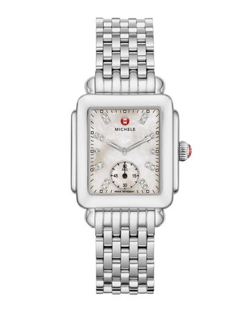 MICHELE Deco Mid Diamond Dial Watch | Neiman Marcus