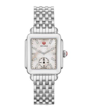 MICHELE Deco Mid Diamond Dial Watch | Neiman Marcus