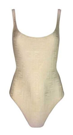 1990's Fendi Ivory Zucca Monogram Plunging Back Bodysuit Swimsuit | My Haute Wardrobe