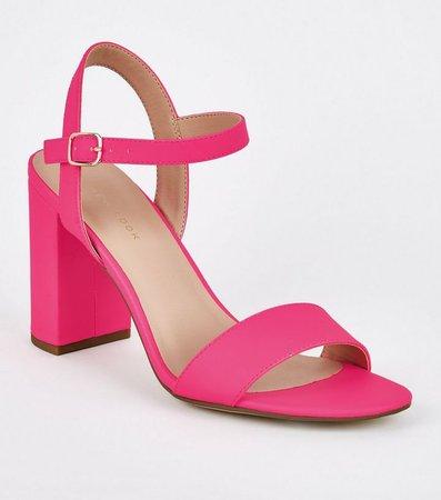 Bright Pink Neon 2 Part Block Heels   New Look