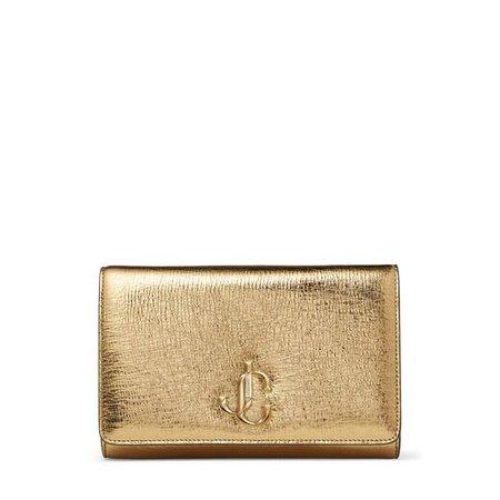 Gold Metallic Vintage Leather Clutch Bag with JC Emblem  VARENNE CLUTCH   Spring Summer '20   JIMMY CHOO