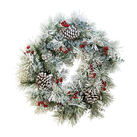 Kurt Adler Battery-Operated Red Berries And Pinecone 24in LED Christmas Wreath