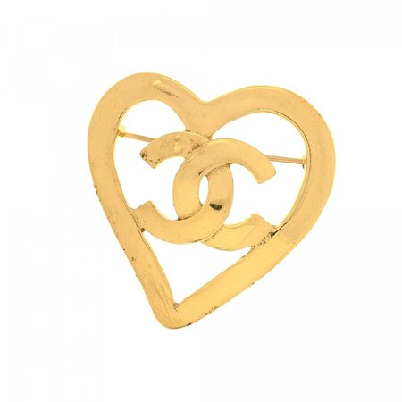 Chanel CC Logo Heart Pin Brooch Gold Plated Metal - LXRandCo - Pre-Owned Luxury Vintage