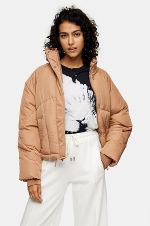 Rose Pink Padded Puffer Jacket